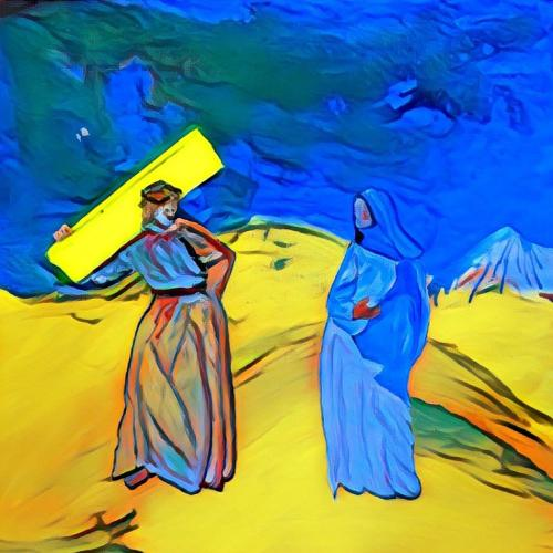 Exercise, study for Way of the Cross. Jesus meets his mother Mary. Part 6