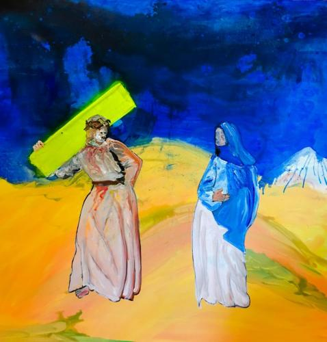 Exercise, study for Way of the Cross. Jesus meets his mother Mary. Part 1