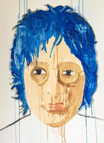 The Noir de l'Ermite  BM John Lennon Blue 90 x 120 cm Mixed Media