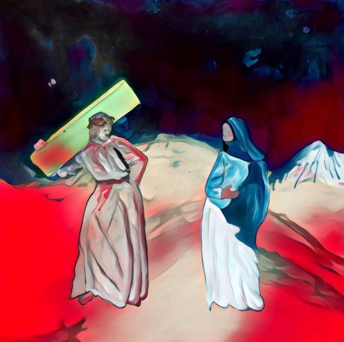 Exercise, study for Way of the Cross. Jesus meets his mother Mary. Part 2