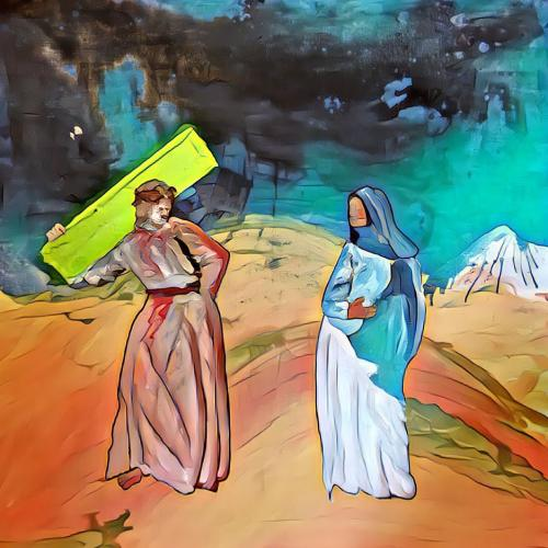 Exercise, study for Way of the Cross. Jesus meets his mother Mary. Part 5